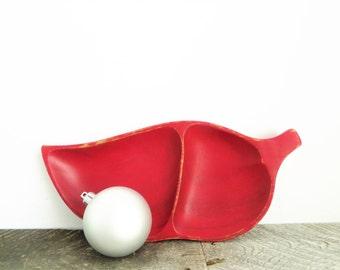 SALE - Red Leaf Bowl - Shabby Chic Decor - Nut Bowl