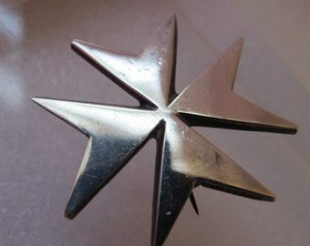 Antique to Older Vintage Sterling Silver IRON CROSS Pin Brooch & Pendant/ Military Silver Badge Award/ Silver Star Pin/ STAR Lapel Pin