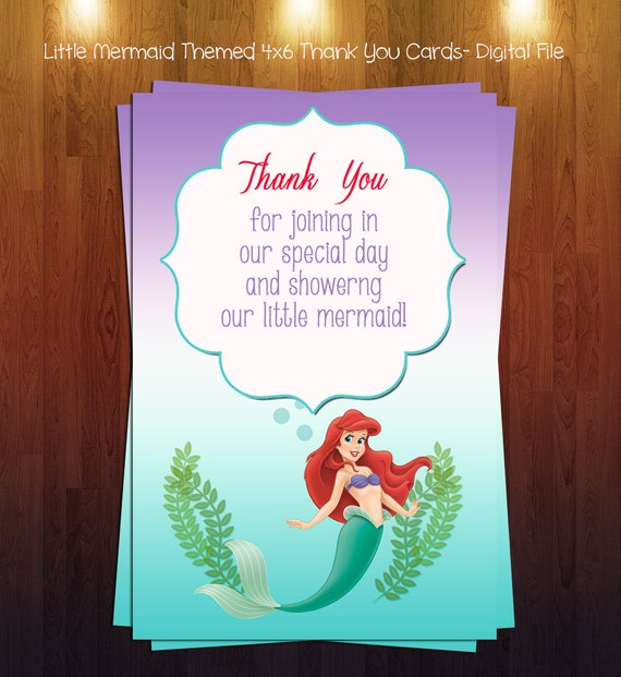 items similar to little mermaid themed baby shower 4x6 thank you card
