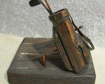 Metal sculpture Golf Bag Bench & Clubs