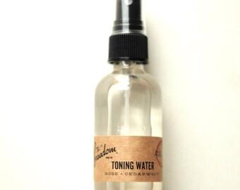 Rose + Cedarwood Toning Water. Facial Toner. 100% Natural.