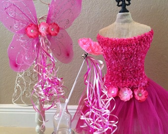 Pink Fairy Costume, Pink Fairy Dress, Pink Fairy Wings, Pink Princess Costume, Fairy Tutu, Fairy Party Favors, Princess Party Fairy Party