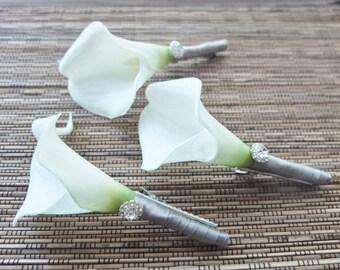 Boutonniere, White Calla Lily and Silver Grey Ribbon Boutonniere, White Calla Lily Corsage