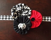 Alabama baby headband -- houndstooth head band for babies, girls with elephant, houndstooth flowers -- Alabama football