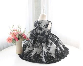 Black Lace Baby Flower Girl Dress, Pageant Dress, Sleeveless Toddler Thanksgiving Dress, Birthday Dress Baby, PD097-1