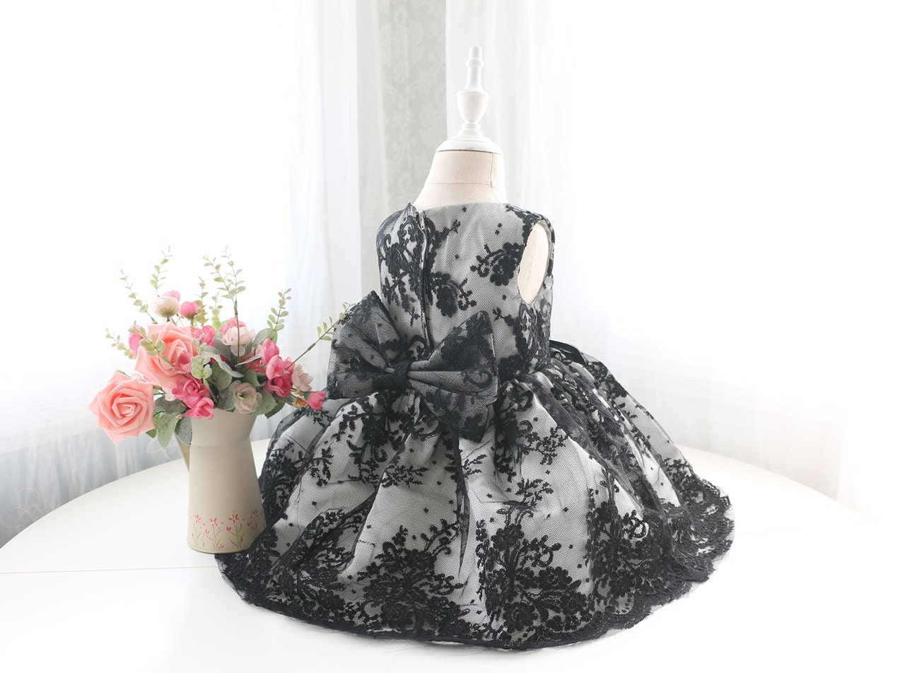 Black Lace Baby Flower Girl Dress Pageant Dress Sleeveless