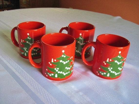 Set of 4 Mugs Waechtersbach Christmas Earthenware West Germany