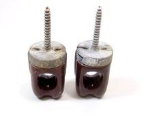 Antique Brown Electrical Ceramic Insulators, Insulator Metal Screw Ceramic, Antique Insulators Electrical