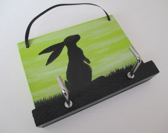 Bunny Rabbit Key Rack Holder Hook Wooden Hand Painted Original Art Silhouette Picture in Green