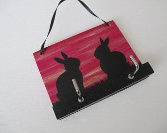 Bunny Rabbit Key Rack Holder Hook Wooden Hand Painted Original Art Silhouette Picture in Deep Cerise Pink