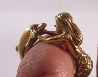 14KT Yellow Gold Mermaid and Dolphine Ring