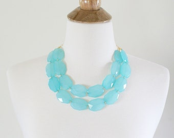 Turquoise Aqua Blue Statement Necklace, Chunky Aqua Beaded Necklace, Aqua Bib Necklace, Aqua Bridesmaid Necklace