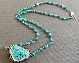 Turquoise Necklace, Gemstone necklace, Hand wired turquoise pendant necklace, CZ embedded Turuqoise