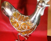 Vintage Metal and Glass Chicken for Wonderful Home and Kitchen Decor Vintage