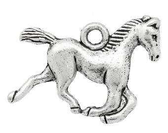 5 Pieces Antique Silver Horse Charms, 15mm x 19mm