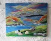 textile art picture, felt painting, felt landscape, sheep by the lake, 20 x 16 inches