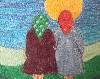 thread painting, stitch painting, textile art,  fits 8x8 inch frame, A sister is forever