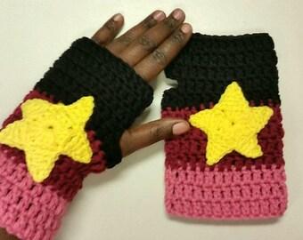 Garnet Inspired Crochet Gloves - Cosplay- Halloween - Steven Universe Inspired - Fingerless Gloves