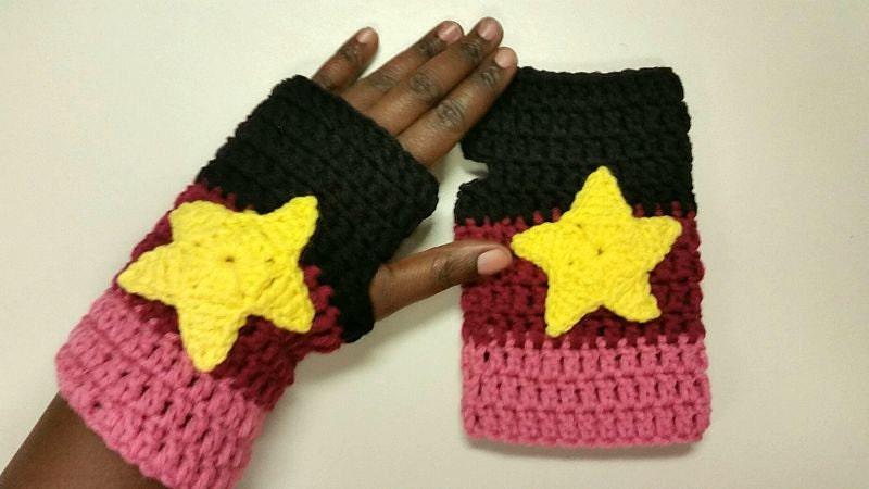 Knitting Universe Store : Garnet inspired crochet gloves cosplay halloween steven