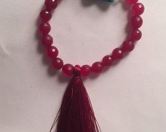 Agate and turquoise tassel bracelet