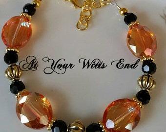 Orange & Black Bracelet, orange beaded bracelet, orange bracelet, fall bracelet, fall jewelry, bracelets, gold bracrlet, at your witts end