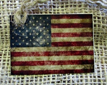 Americana Primitive Flag Hang Tag