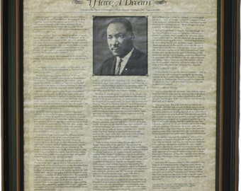 "Framed Martin Luther King Jr. ""I Have A Dream"" Speech. Free Shipping!"
