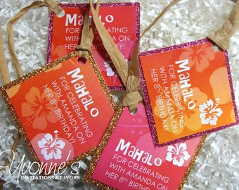 Hawaiian Luau Tropical Favor Tags - Gift / Thank You Tags for Wine Bottles / Gift Bags - Wedding, Bridal Shower, Birthday Sweet Sixteen