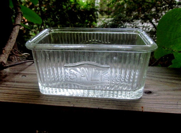 Clear Glass Vintage Salt Box