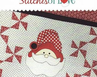 DIY Santa Quilted Table Runner Kit Laser Cut Applique Small Quilt Stitches of Love