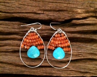 Carnelian Turquoise Hoops, Blue Orange Sterling Silver Wire Wrapped Gemstone Earrings