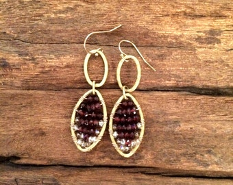Garnet Red Crystal Gemstone Earrings, January Birthstone Jewelry, Gold Wire Wrapped
