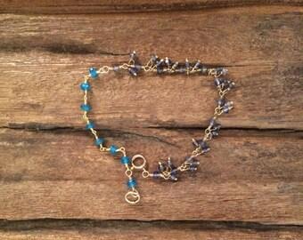 Apatite Iolite Bracelet, Blue Gemstone Gold Bracelet, Wire Wrapped