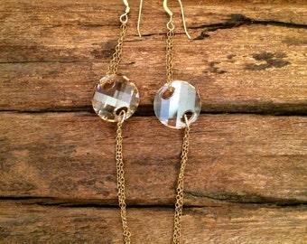 Swarovski Crystal Earrings, Long Swarovski Golden Dangle Earrings