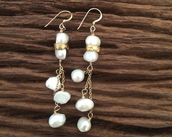 Long Pearl Dangle Earrings, Gold and White, Wedding Bridal Bridesmaid Earrings, June Birthstone Jewelry