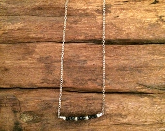 Black Spinel Necklace, Simple Black Sterling Silver Gemstone Bar Necklace