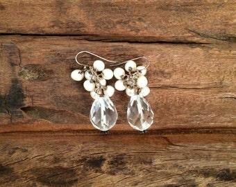Pearl Crystal Quartz Earrings, Pearl Crystal Drop Dangle Earrings, Faceted Gemstone Teardrop and Freshwater Pearls, Wedding Bridal Jewelry