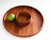 Vintage Dansk Designs Denmark Quistgaard IHQ Teak Round Tray Chip and Dip Appetizer Dish