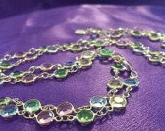 Necklace: Gold Chain with Pink, Blue, Green and Yellow Faceted Crystals