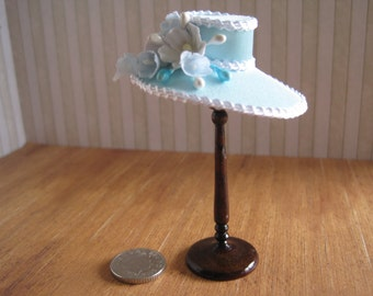 12th Scale Dollhouse Miniature Ladies Hat in Pale Aqua Satin