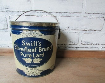 ONE Pail Vintage Silverleaf Lard Tin Swift's Brand