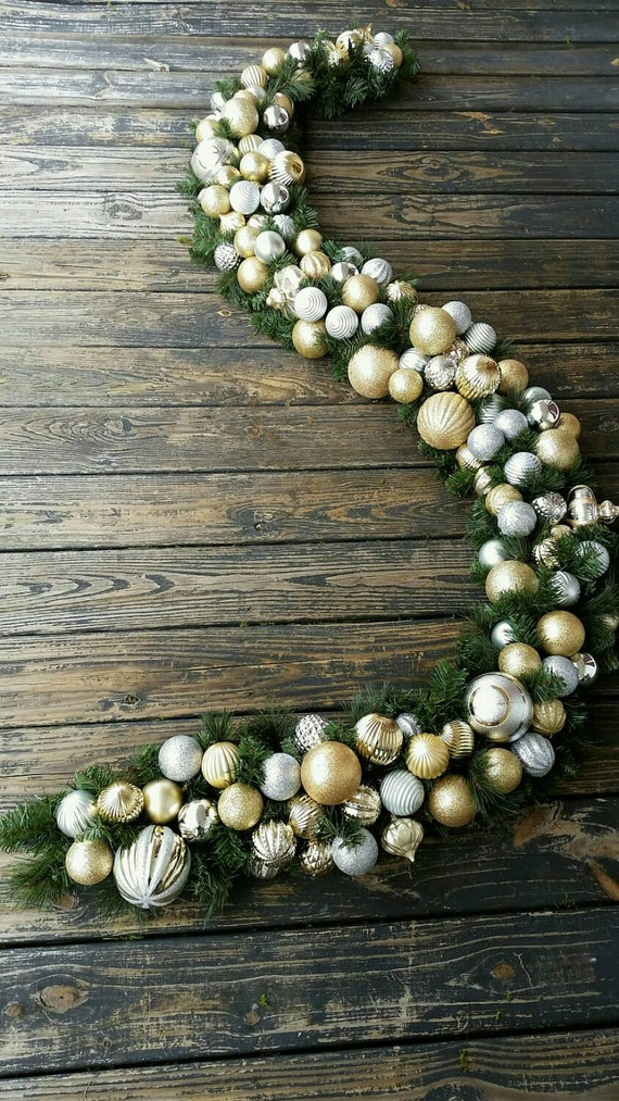 Christmas Garland, Holiday Garland, Mantel Garland, Fireplace Garland, Custom 9 Foot Pine Garland With Silver and Gold Ornaments