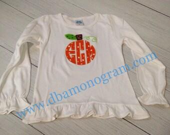 Monogram Pumpkin Fall Monogram Shirt, Boy or Girl Fall Shirt