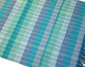 "Machine Washable Bermuda Blue Rag Rug Handwoven 20"" x 30"""