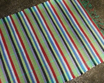 Rag Rug Lime Accent Cobalt Black Red White Striped Handwoven