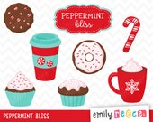 80% OFF SALE Peppermint Winter Cupcake Donut Coffee Cute Clip Art, Instant Download, Commercial Use
