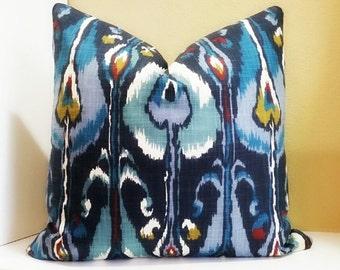 Pillow Cover - Robert Allen Ikat Indigo Bands - Robert Allen Cobalt Blue, Blue Grey, Off White, Olive Green, Russet,  Navy Blue Ikat Pillow