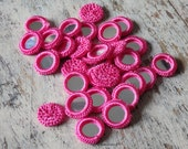 Crochet mirror beads - 50 round HOT PINK mirror beads, crochet beads, decorative mirrors for accessories, mirror appliques - 50 pcs.
