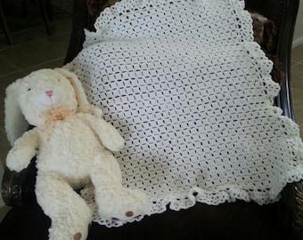 White vintage style crochet christening baptism baby blanket.