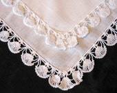 Wedding Handkerchief White Linen Handkerchief, Lace Wedding Hankie Vintage Hankerchief Something Old